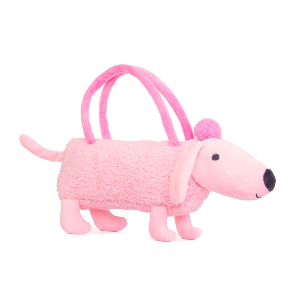 Собачка-сумочка, розовая, 35 см
