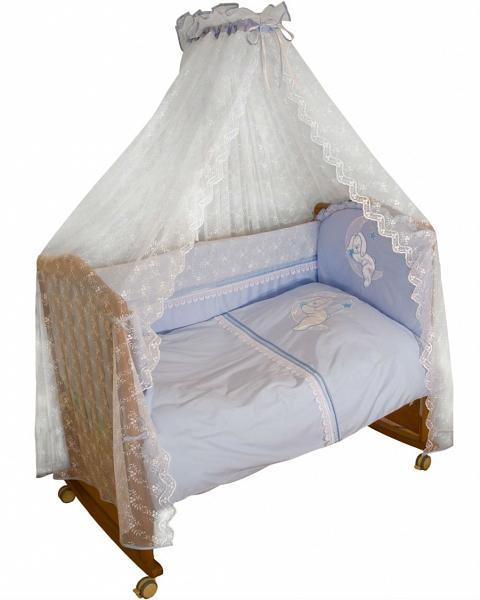 Борт Лунный зай – голубойБампер в кроватку<br>Борт Лунный зай – голубой<br>