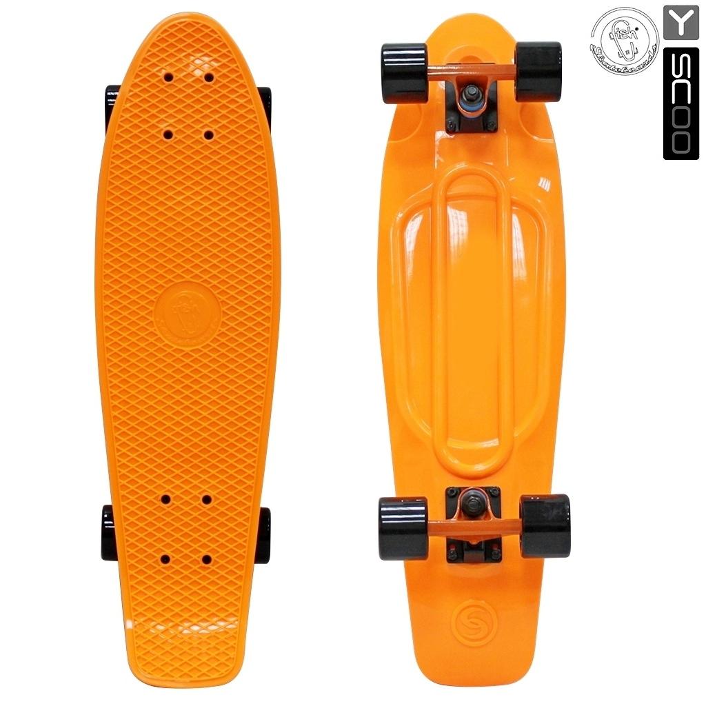 Скейтборд виниловый Y-Scoo Big Fishskateboard 27  402-O с сумкой, оранжевый - Детские скейтборды, артикул: 153175