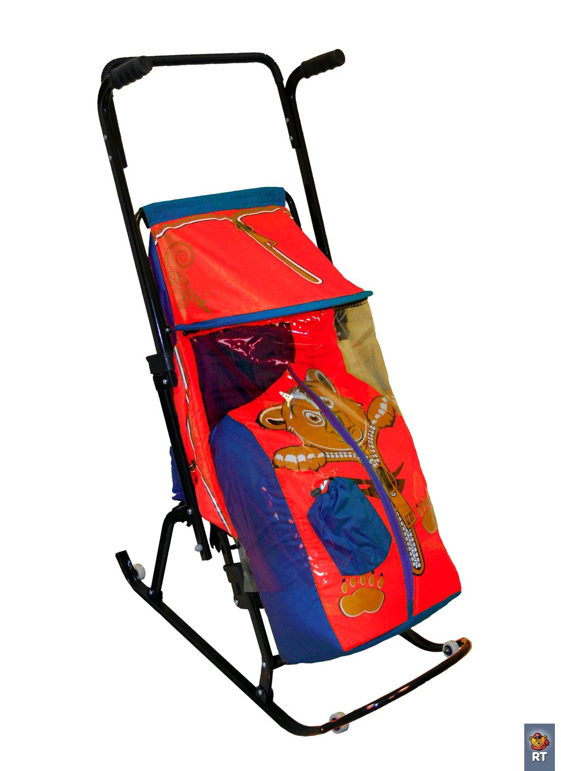 Санки-коляска Снегурочка 4-Р - Медвежонок с 4 колесиками, синий-красныйСанки и сани-коляски<br>Санки-коляска Снегурочка 4-Р - Медвежонок с 4 колесиками, синий-красный<br>