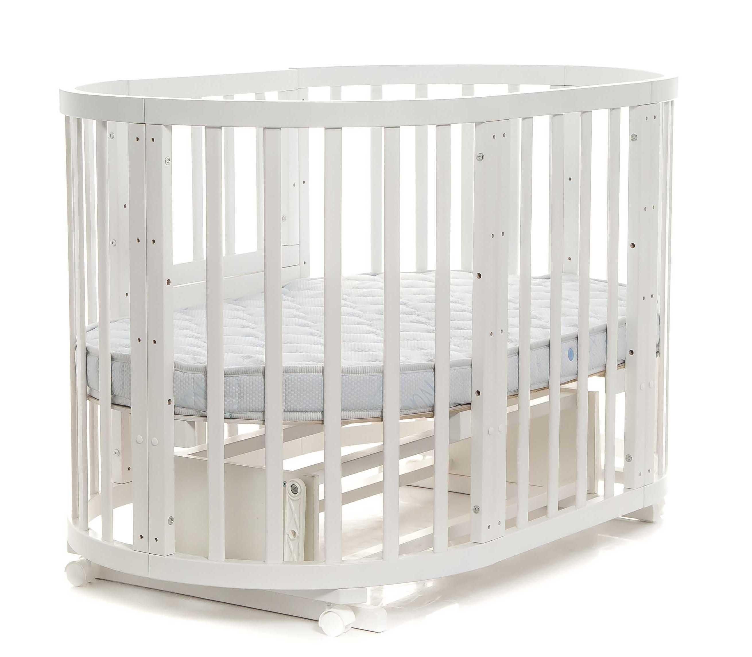 Круглая кроватка-трансформер – Noony Cozy, белыйДетские кровати и мягкая мебель<br>Круглая кроватка-трансформер – Noony Cozy, белый<br>
