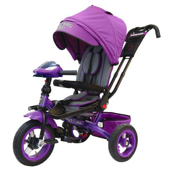 Купить Велосипед 3-колесный цвет – фиолетовый, с резиновыми надувными колесами 12 и 10 дюймов, складной руль, светомузыкальная панель, Lexus Trike