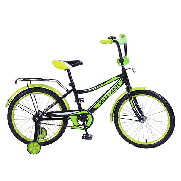 Купить Велосипед детский Mustang с колесами 20 , рама Z-тип, багажник, страховочные колеса, звонок, черно/зеленый
