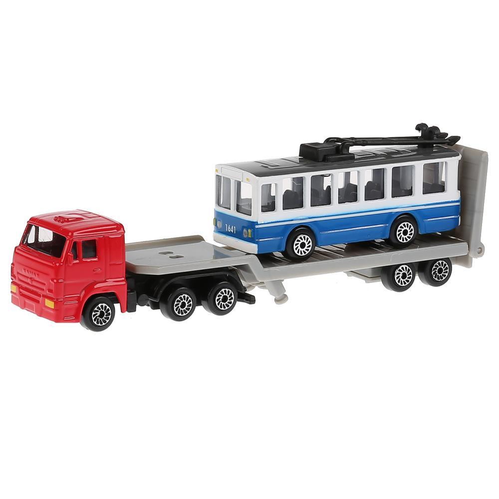 Перевозчик Камаз 15, 5 см с троллейбусом 8 см, металлические ), Технопарк  - купить со скидкой