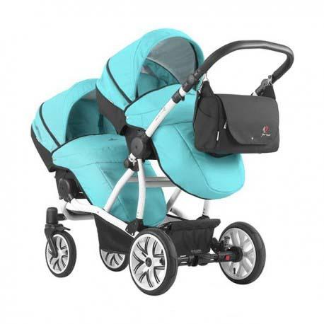 Детская прогулочная коляска для двойни – Bebetto 42 Sport, шасси белая/BIA SON199Детские коляски для двойни и погодок<br>Детская прогулочная коляска для двойни – Bebetto 42 Sport, шасси белая/BIA SON199<br>