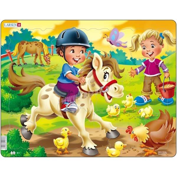 Купить Пазл – Дети на ферме: пони, 16 деталей, Larsen