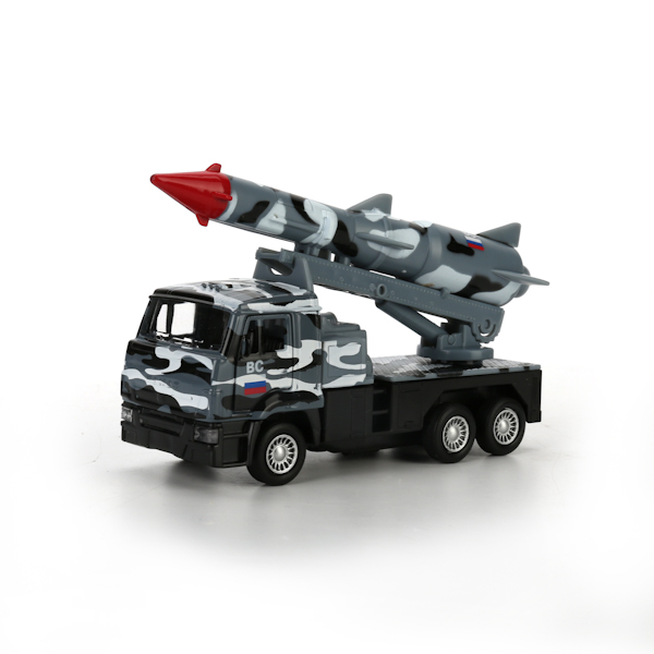 Металлическая инерционная машина – Камаз, ракета, 12 см, открывающиеся двери, серый камуфляжВоенная техника<br>Металлическая инерционная машина – Камаз, ракета, 12 см, открывающиеся двери, серый камуфляж<br>