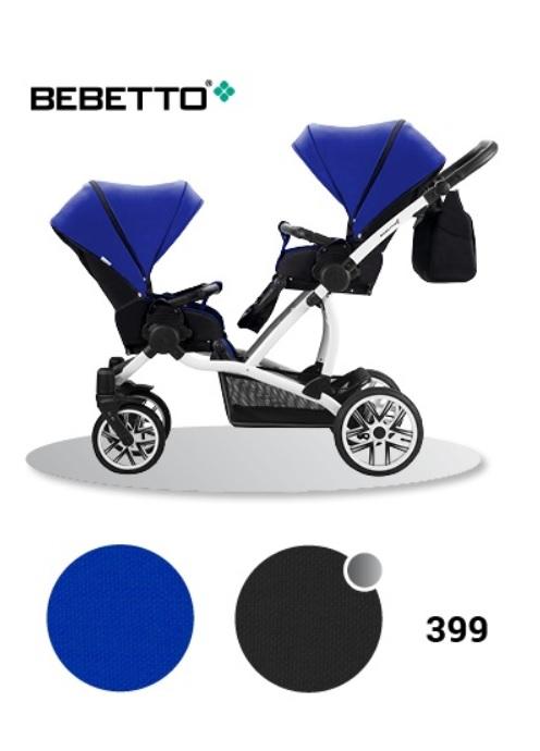 Купить Детская прогулочная коляска Bebetto 42 Sport для двойни, шасси белая/BIA, цвет – 399