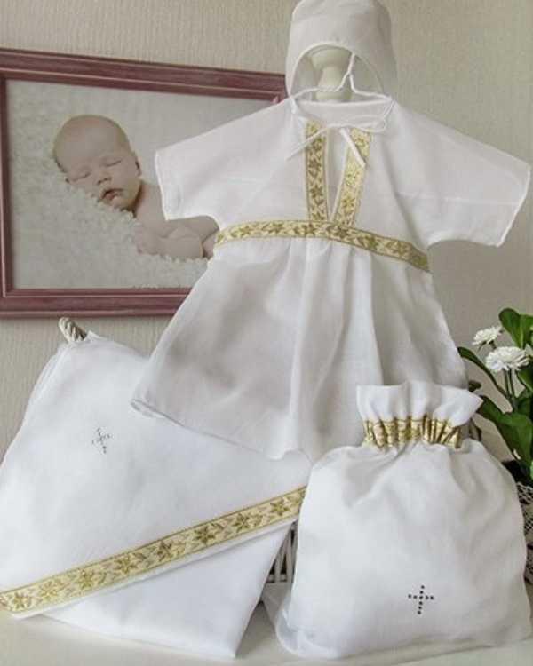 Крестильный набор для девочки – Классика, 4 предмета, белый/золото, 3-6 месяцевКрестильные наборы<br>Крестильный набор для девочки – Классика, 4 предмета, белый/золото, 3-6 месяцев<br>