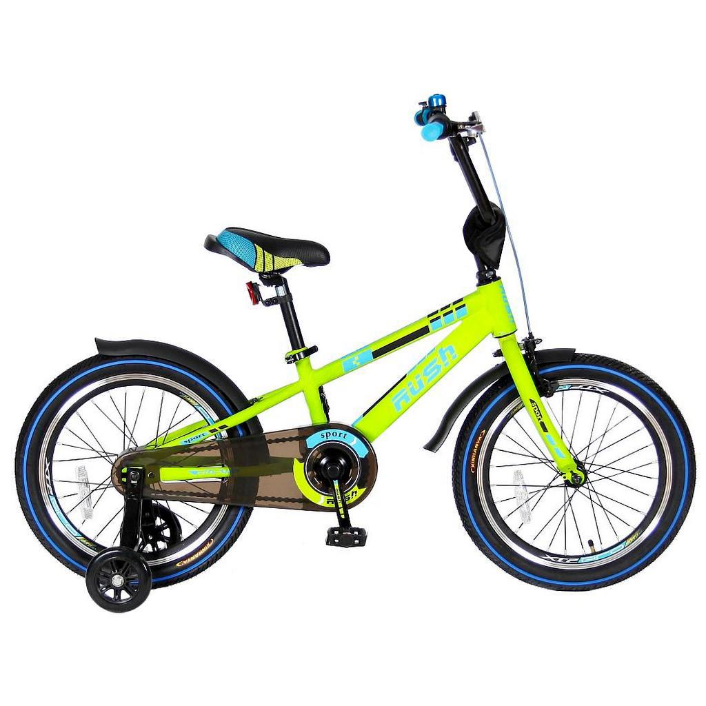 Двухколесный велосипед Rush Sport, диаметр колес 18 дюймов, зеленыйВелосипеды детские<br>Двухколесный велосипед Rush Sport, диаметр колес 18 дюймов, зеленый<br>