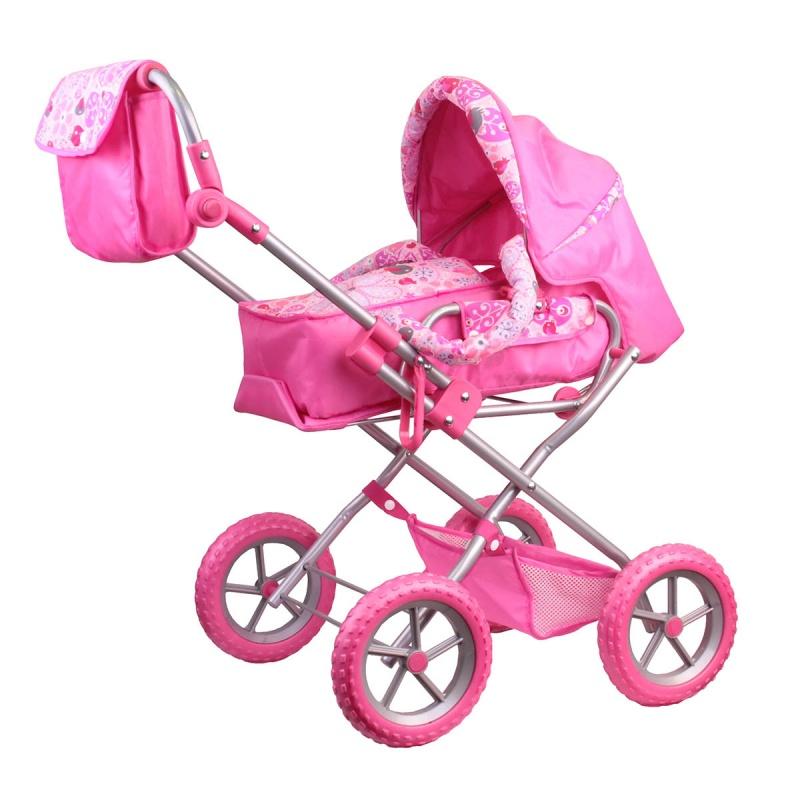 Зимняя коляска с сумкой розоваяКоляски для кукол<br>Зимняя коляска с сумкой розовая<br>