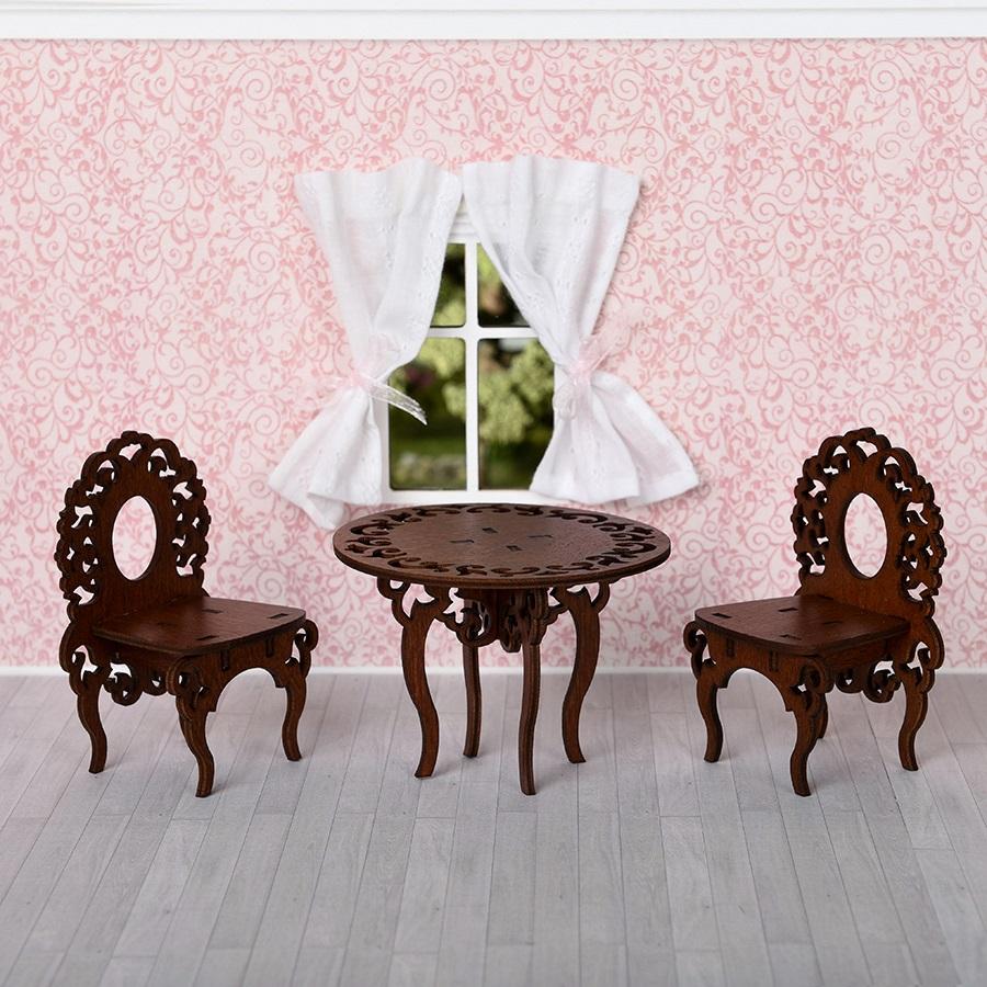 Мебель для кукольного домика - стол и 2 стула, цвет – коричневыйКукольные домики<br>Мебель для кукольного домика - стол и 2 стула, цвет – коричневый<br>