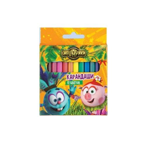 Цветные карандаши – Смешарики, 12 цветов, 88 мм