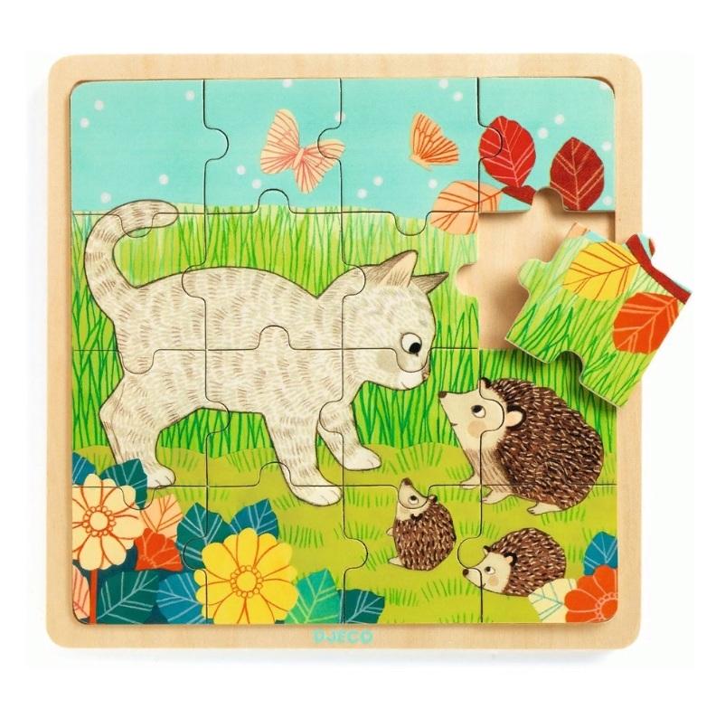 Купить Деревянный пазл - Игра в траве, 16 элементов, Djeco