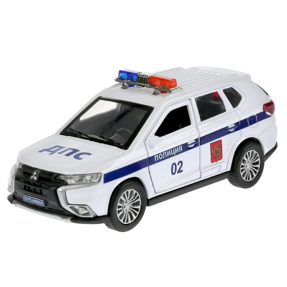 Купить Машина металлическая Mitsubishi Outlander Полиция 12 см, открываются двери, инерция, белая, Технопарк