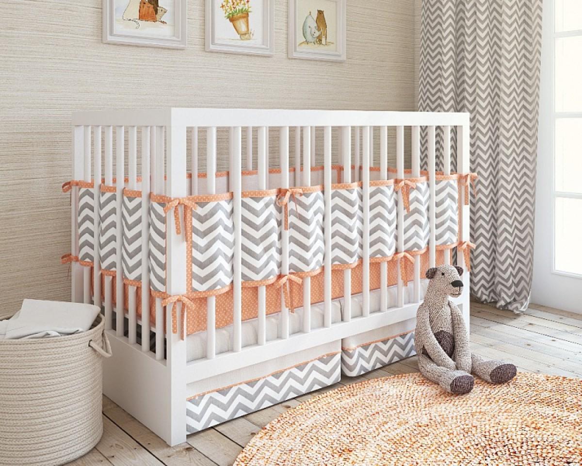 Набор постельного белья для новорожденного – ZigZag, 5 предметов, coralДетское постельное белье<br>Набор постельного белья для новорожденного – ZigZag, 5 предметов, coral<br>