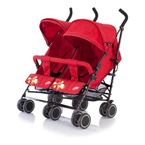 Коляска для двойни City Twin, трость, redДетские коляски для двойни и погодок<br>Коляска для двойни City Twin, трость, red<br>