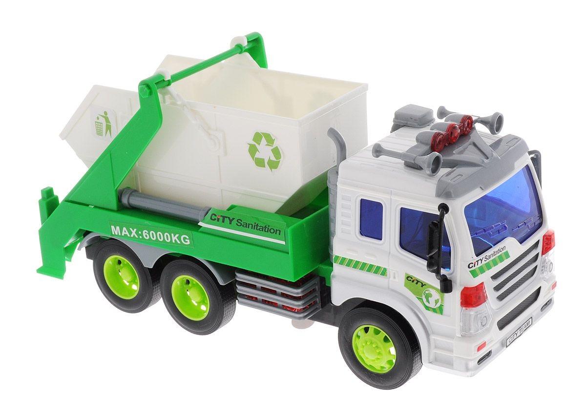 Купить Мусоровоз с контейнером, инерционный со световыми и звуковыми эффектами, Dave Toy Ltd