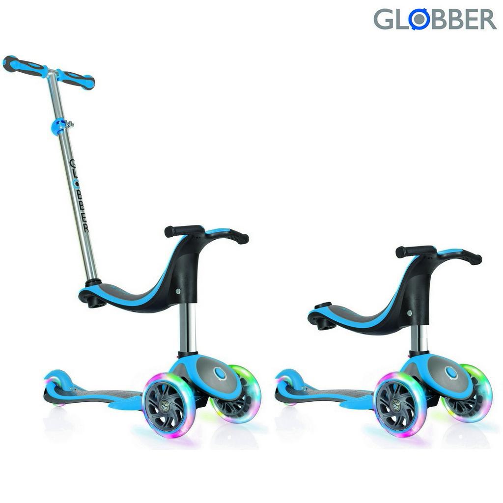 Купить Самокат Globber Evo 454-130 4 in 1 Plus c подножками, с 3 светящимися колесами, цвет- Blue