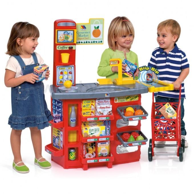 Игровой супермаркет звуковой с тележкой, 17 предметовДетская игрушка Касса. Магазин. Супермаркет<br>Игровой супермаркет звуковой с тележкой, 17 предметов<br>