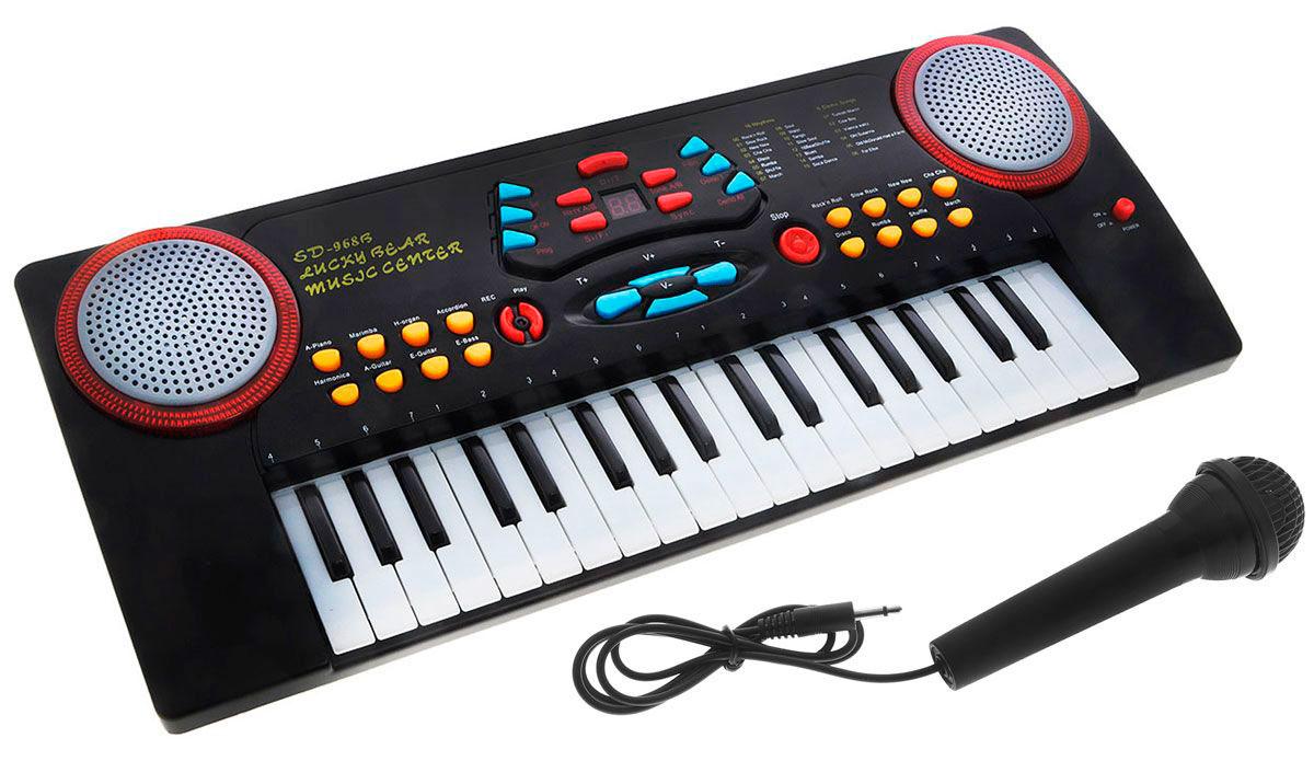 Детский синтезатор с микрофоном, 37 клавишСинтезаторы и пианино<br>Детский синтезатор с микрофоном, 37 клавиш<br>