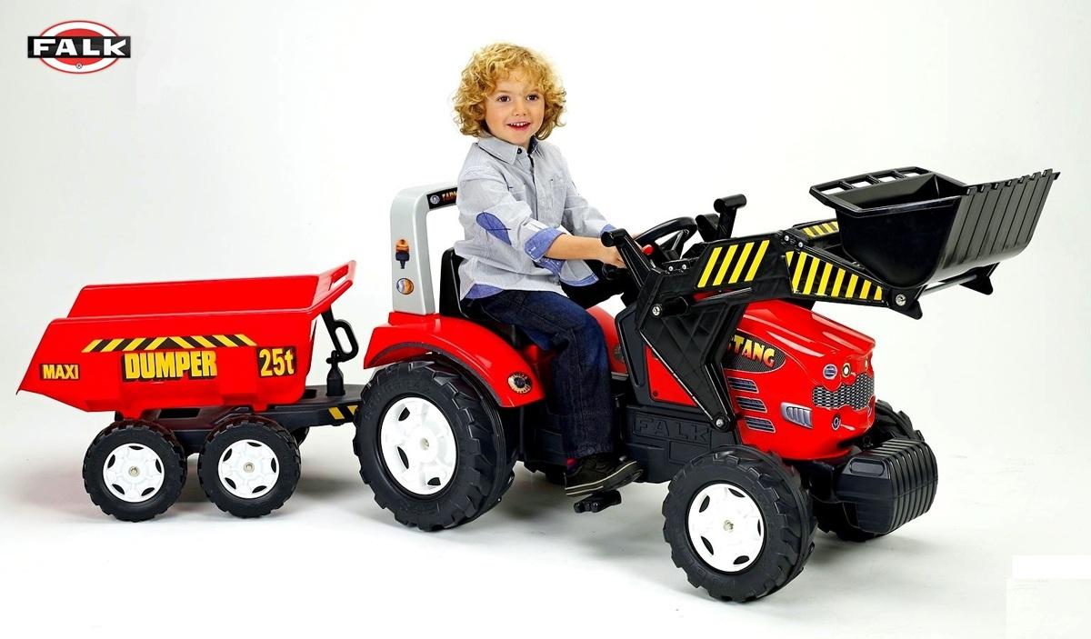 Педальный детский трактор-экскаватор с прицепом, Falk, 1070P
