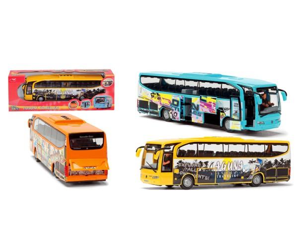 Автобус для путешествий Euro Traveller, 4 расцветкиАвтобусы, трамваи<br>Туристический игрушечный автобус оснащен функцией открытия и закрытия дверей, также открываются люк и багажник...<br>