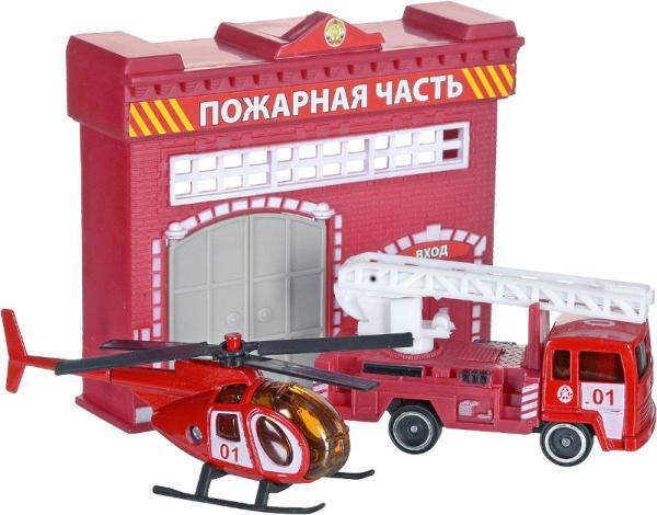 Набор - Пожарная станция с металлической машиной 7,5 см и вертолетомПожарная техника, машины<br>Набор - Пожарная станция с металлической машиной 7,5 см и вертолетом<br>