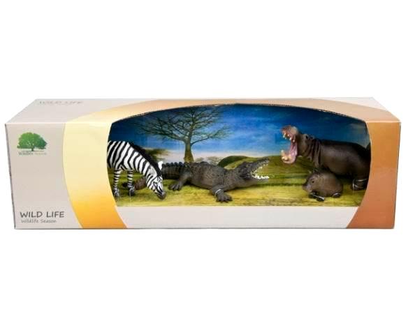 Набор фигурок животных: зебра, крокодил, гиппопотам с детенышемДикая природа (Wildlife)<br>Набор фигурок животных: зебра, крокодил, гиппопотам с детенышем<br>