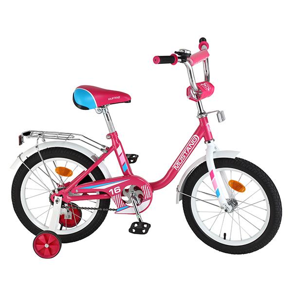 Велосипед детский – Mustang, розово-белый со страховочными колесамиВелосипеды детские<br>Велосипед детский – Mustang, розово-белый со страховочными колесами<br>