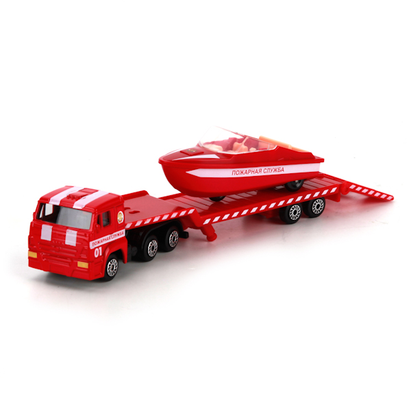 Купить со скидкой Коллекционный металлический набор - Камаз - Пожарный транспортер с лодкой