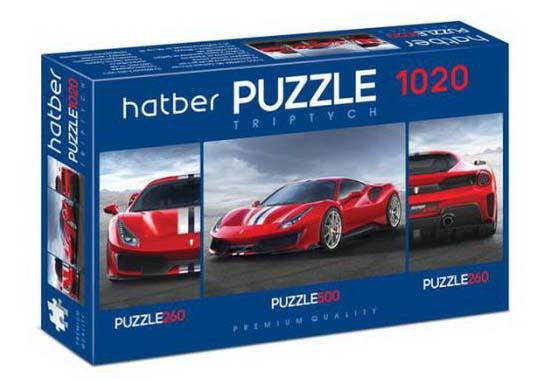 Пазл Premium 260+500+260 элементов – Triptych 3 картинки в 1 коробке: Super car