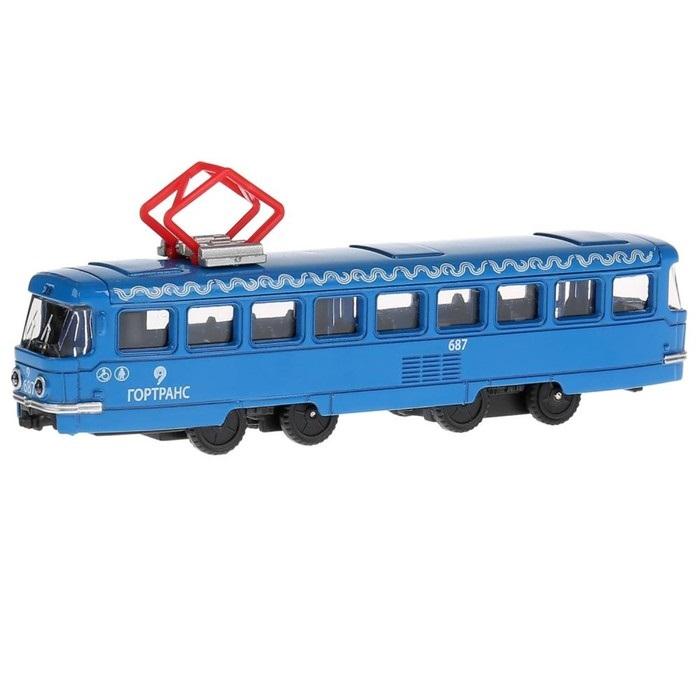 Купить Металлический трамвай 16, 5 см, инерционный, открываются двери, Технопарк