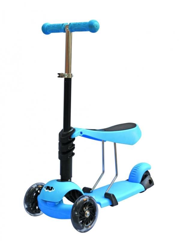 Купить Самокат трехколесный 3-в-1, PU колеса со светом, регулируемый алюминиевый руль, голубой, Navigator