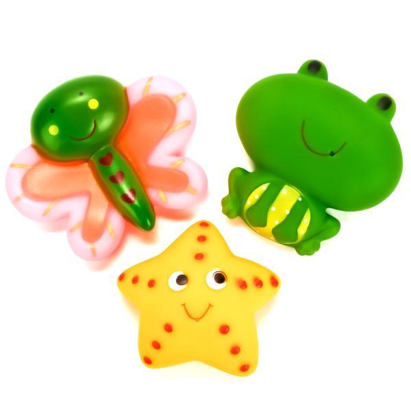 Игрушки для ванной - Бабочка, звезда, лягушка - в сеткеРезиновые игрушки<br>Игрушки для ванной - Бабочка, звезда, лягушка - в сетке<br>