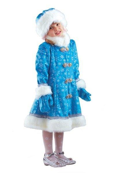 Карнавальный костюм для девочек – Снегурочка плюш, пальто, шапка и рукавицы, размер 122-64 фото