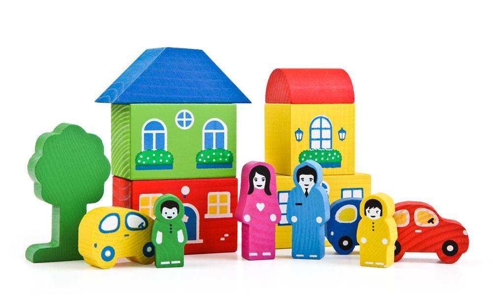 Конструктор - Цветной городок, синийКубики<br>Конструктор - Цветной городок, синий<br>