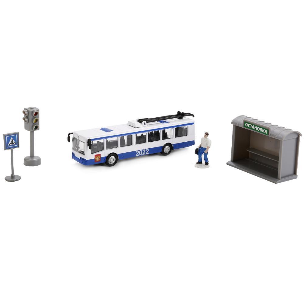 Купить Игровой набор – Троллейбус с остановкой и аксессуарами, 16, 5 см, Технопарк