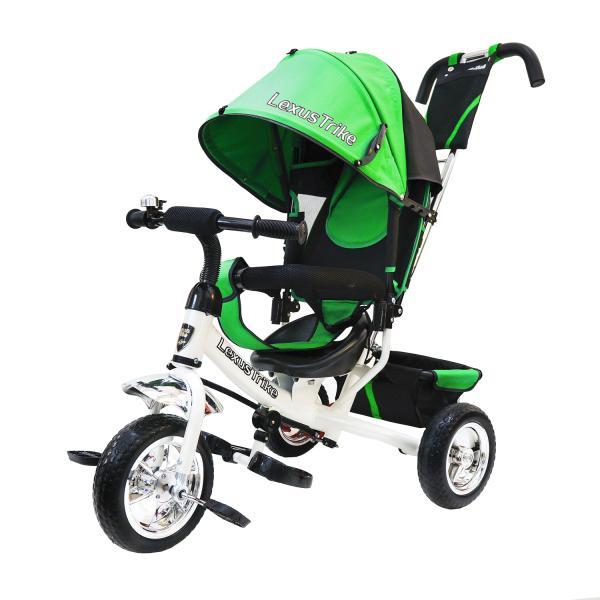 Купить Велосипед 3-колесный, с полимерными колесами 10 и 8 дюймов, регулируемая спинка, задний тормоз, цвет – зелено/белый, Lexus Trike