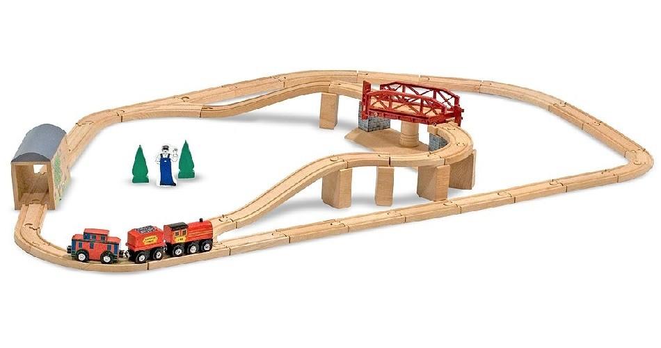 Набор  Железная дорога  деревянный с вращающимся мостом - Железная дорога для малышей, артикул: 138988