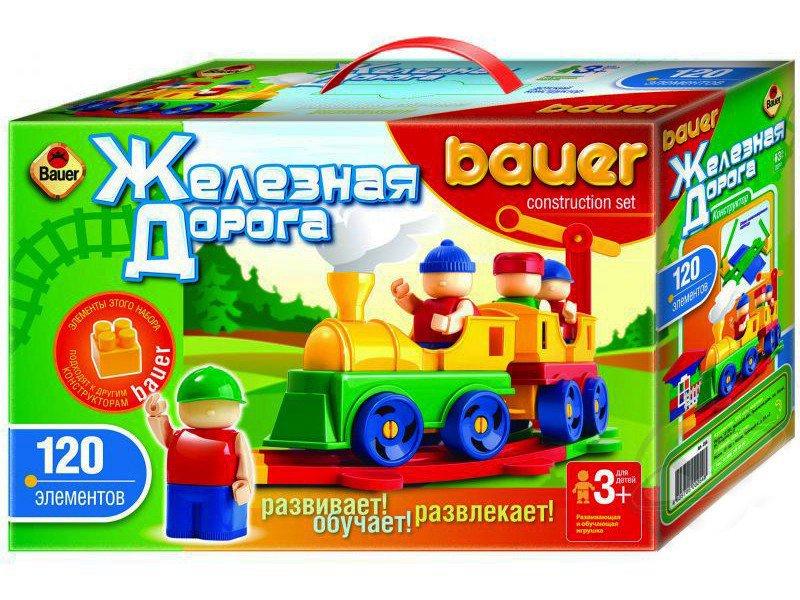 Железная дорога New, 120 элементов - Конструкторы Bauer Кроха (для малышей), артикул: 127398