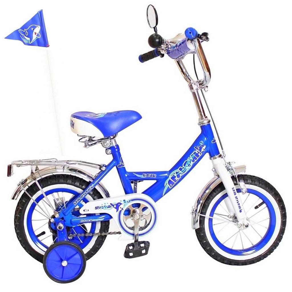 Двухколесный велосипед Дельфин, диаметр колес 12 дюймов, синийВелосипеды детские<br>Двухколесный велосипед Дельфин, диаметр колес 12 дюймов, синий<br>