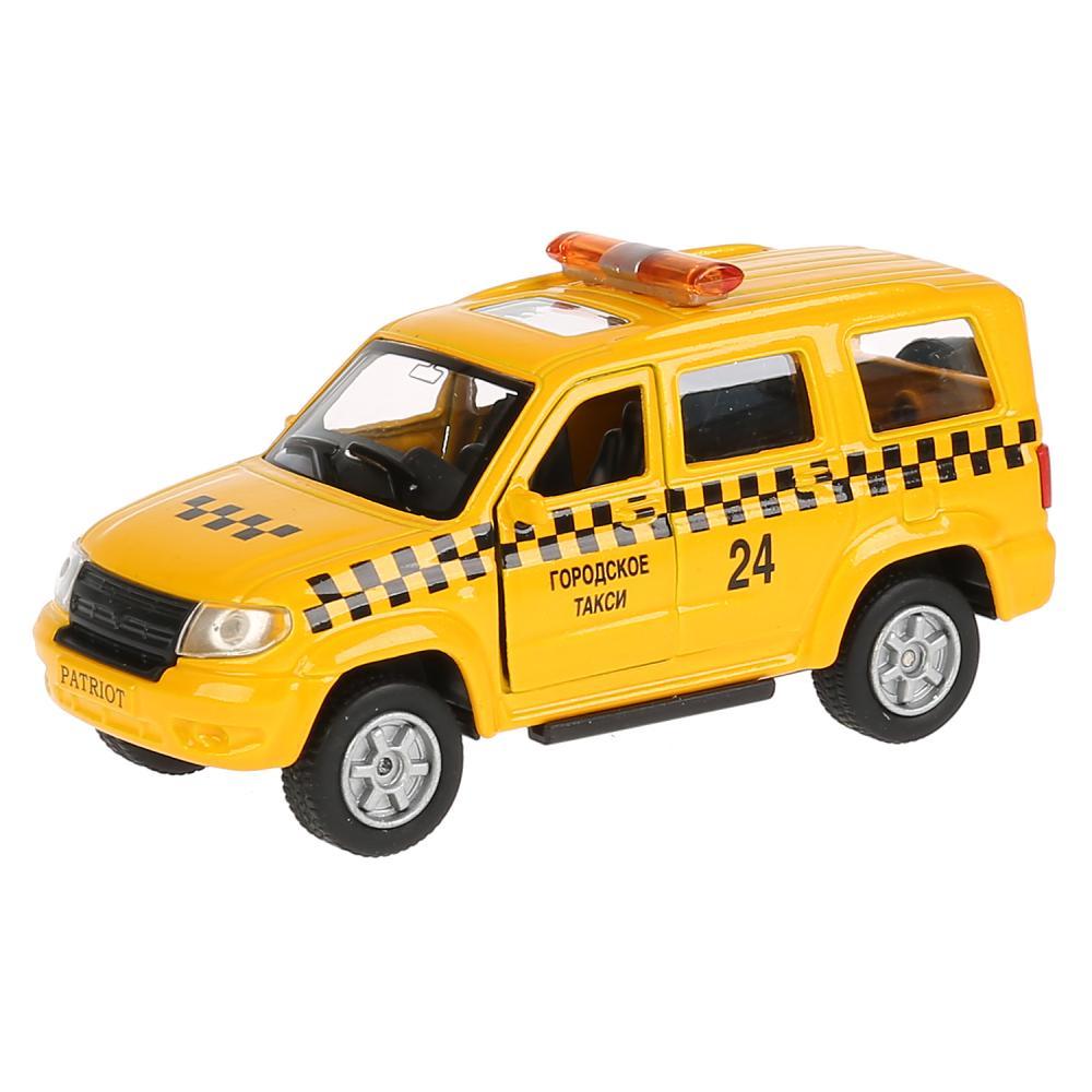 Купить Машина металлическая УАЗ Patriot Такси, длина 12 см, открываются двери и багажник, инерционная, Технопарк