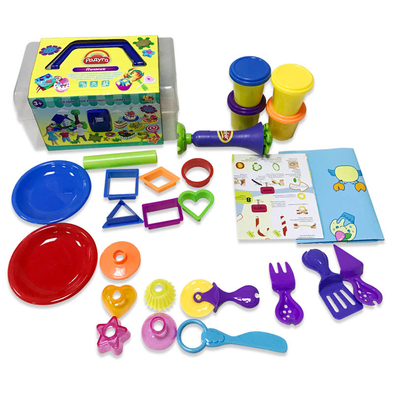 Купить Набор - Масса для лепки - Пикник, 4 баночки разных цветов с тематическими аксессуарами, 29 предметов, в чемоданчике, MERX Limited