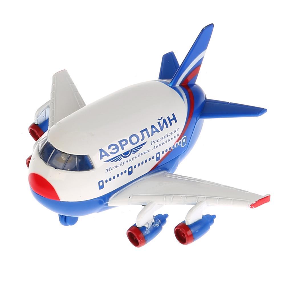 Купить Самолет металлический инерционный, свет и звук, Технопарк
