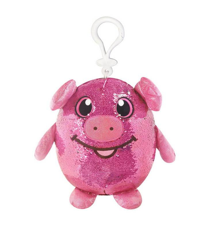 Мягконабивная фигурка Shimmeez - Свинка в пайетках, с карабином, 9 см