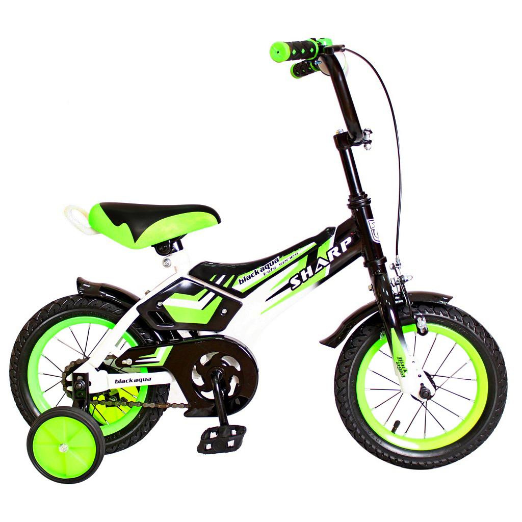 Двухколесный велосипед Sharp, диаметр колес 12 дюймов, зеленыйВелосипеды детские<br>Двухколесный велосипед Sharp, диаметр колес 12 дюймов, зеленый<br>