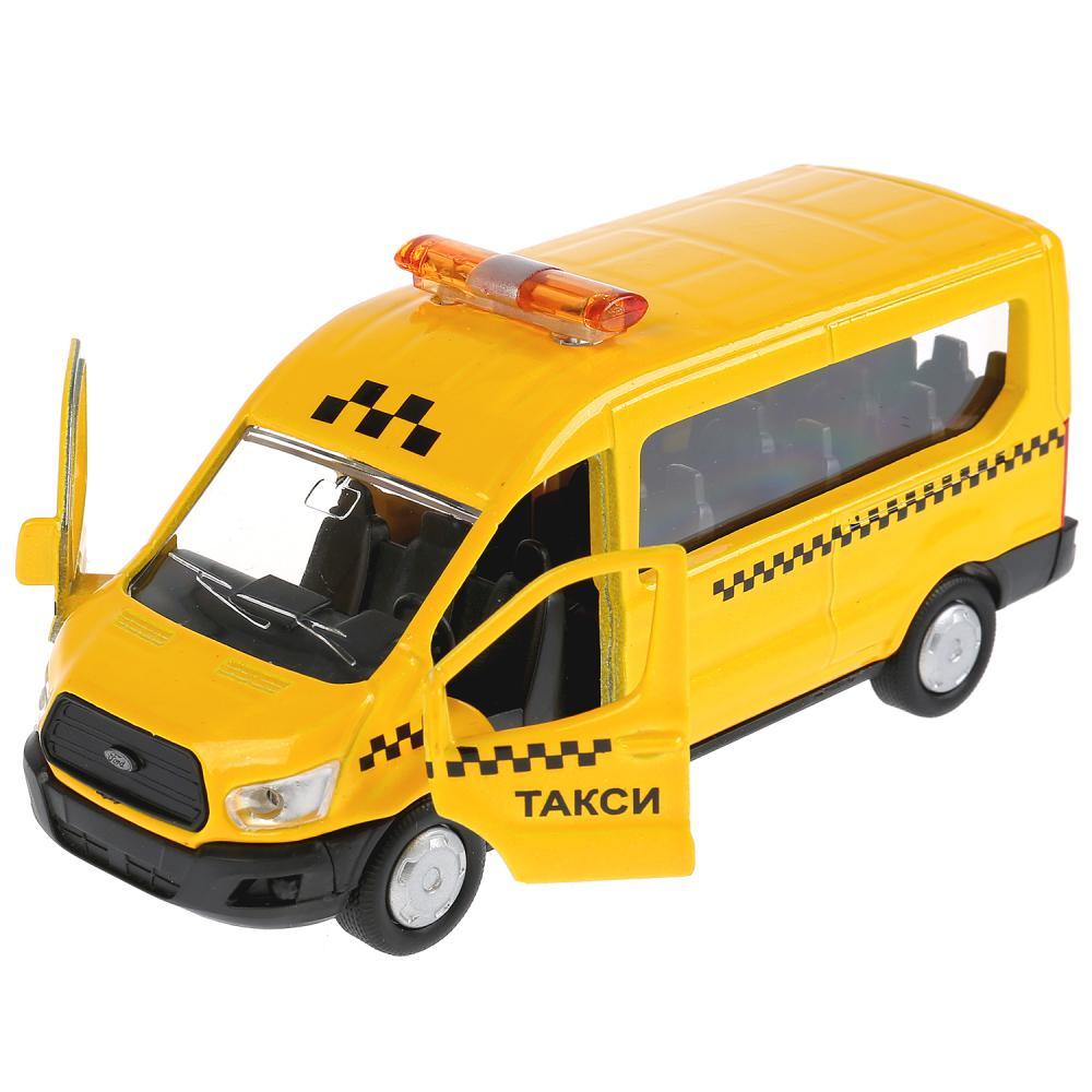 Купить Машина инерционная металлическая - Ford Transit - Такси 12 см, открываются двери, Технопарк