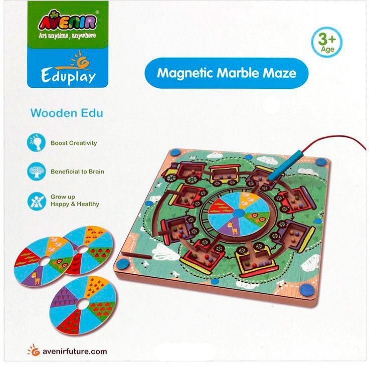 Развивающая игра - Деревянный лабиринт с магнитными шариками