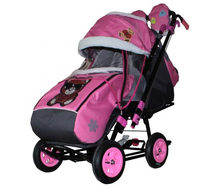 Купить Санки-коляска Snow Galaxy City-2 - Мишка в красном в очках на розовом, на больших колесах Eva, сумка, варежки, RT